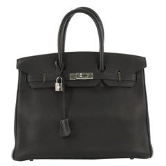 Hermes Birkin Handbag Blue Indigo Togo with Palladium Hardware 35