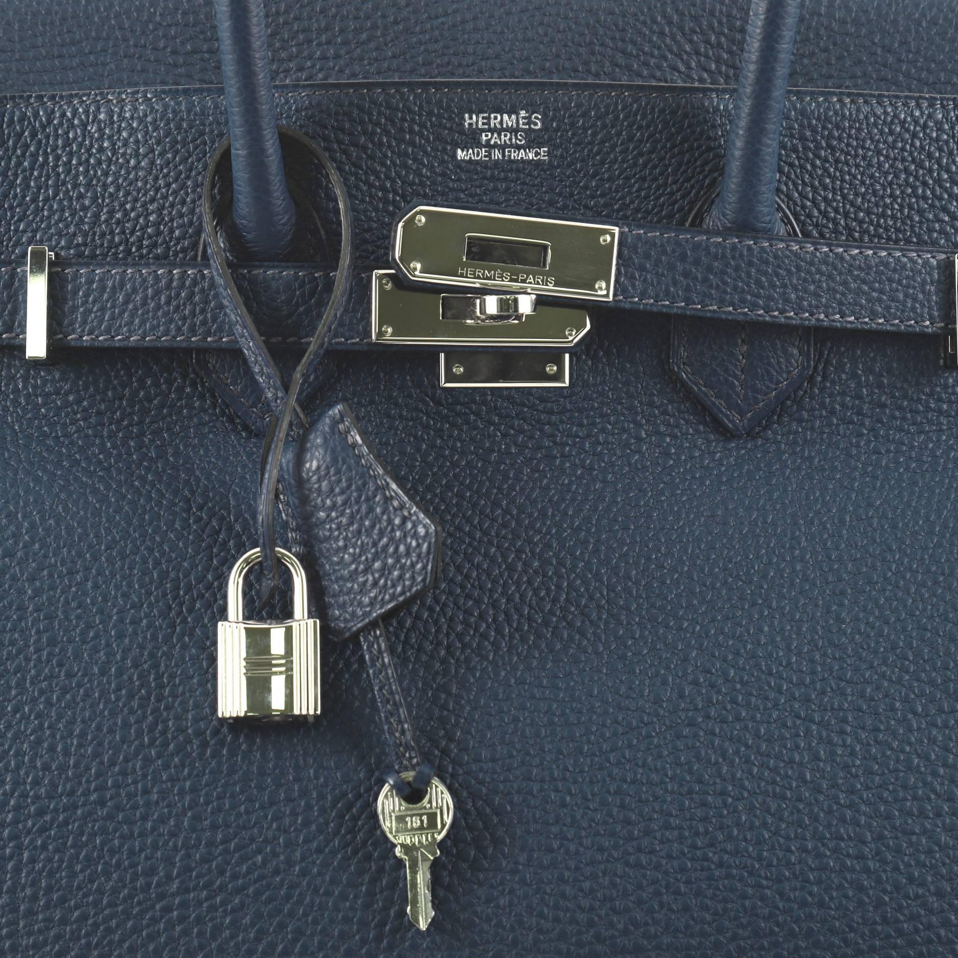 b88aade961 authentic hermes birkin bag 30 blue de presse dark blue togo leather silve  654ec c4354