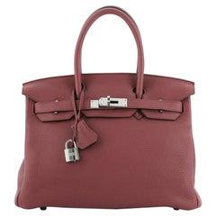 Hermes Birkin Handbag Bois De Rose Clemence with Palladium Hardware 30