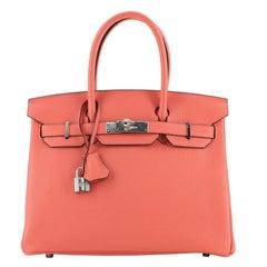 Hermes Birkin Handbag Bougainvillea Clemence with Palladium Hardware 30