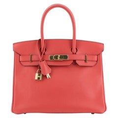Hermes Birkin Handbag Bougainvillea Epsom with Gold Hardware 30