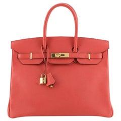Hermes Birkin Handbag Bougainvillea Epsom with Gold Hardware 35