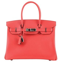 Hermes Birkin Handbag Bougainvillea Epsom with Palladium Hardware 30