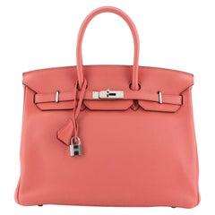 Hermes Birkin Handbag Bougainvillier Clemence with Palladium Hardware 35