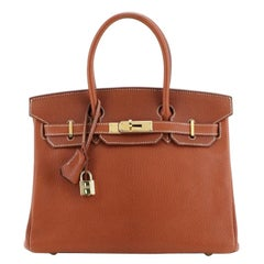 Hermes Birkin Handbag Brown Chevre de Coromandel with Gold Hardware 30