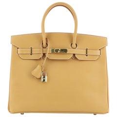 Hermes Birkin Handbag Brown Vache Natural with Gold Hardware 35