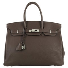 Hermes Birkin Handbag Cafe Togo With Palladium Hardware 35