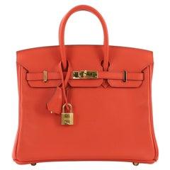 Hermes Birkin Handbag Capucine Swift with Gold Hardware 25