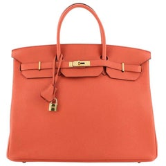 Hermes  Birkin Handbag Capucine Togo with Gold Hardware 40