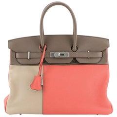 Hermes Birkin Handbag Cascade Tricolor Clemence & Swift w Brushed Palladium 35