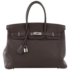 Hermes Birkin Handbag Chocolate Brown Togo with Palladium Hardware 35