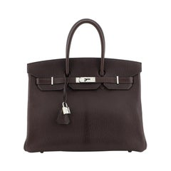 Hermes Birkin Handbag Chocolate Chevre De Coromandel With Palladium Hardware 35