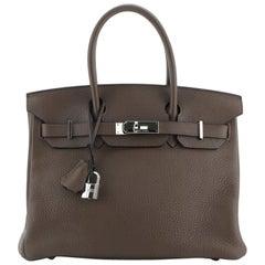 Hermes Birkin Handbag Chocolate Clemence with Palladium Hardware 30