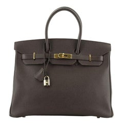 Hermes  Birkin Handbag Chocolate Epsom with Gold Hardware 35