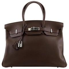 Hermes Birkin Handbag Chocolate Swift with Palladium Hardware 35