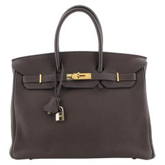 Hermes Birkin Handbag Chocolate Togo with Gold Hardware 35