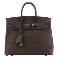Hermes Birkin Handbag Chocolate Togo with Palladium Hardware 25
