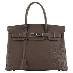 Hermes Birkin Handbag Chocolate Togo With Palladium Hardware 30