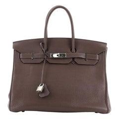 Hermes Birkin Handbag Chocolate Togo with Palladium Hardware 35