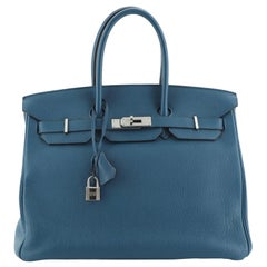 Hermes  Birkin Handbag Cobalt Togo with Palladium Hardware 35