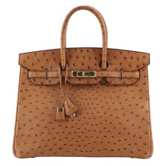 Hermes Birkin Handbag Cognac Ostrich with Gold Hardware 35