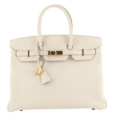 Hermes Birkin Handbag Craie Epsom with Gold Hardware 35