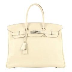 Hermes Birkin Handbag Craie Swift with Palladium Hardware 35