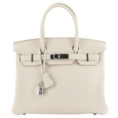 Hermes Birkin Handbag Craie Togo With Palladium Hardware 30