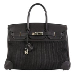 Hermes Birkin Handbag Crinoline and Noir Barenia with Palladium Hardware 35