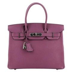 Hermes Birkin Handbag Cyclamen Chevre de Coromandel with Palladium Hardware 30