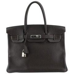 Hermes Birkin Handbag Ebene Clemence With Palladium Hardware 30