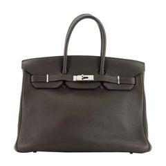 Hermes Birkin Handbag Ebene Clemence With Palladium Hardware 35