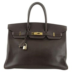 Hermes Birkin Handbag Ebene Epsom with Gold Hardware 35