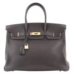 Hermes Birkin Handbag Ebene Evergrain with Gold Hardware 35