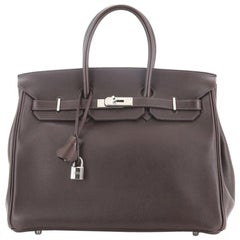 Hermes Birkin Handbag Ebene Evergrain with Palladium Hardware 35