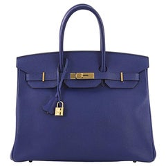Hermes Birkin Handbag Electric Blue Epsom with Gold Hardware 35
