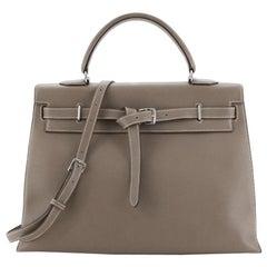 Hermes Birkin Handbag Etain Epsom with Palladium Hardware 35