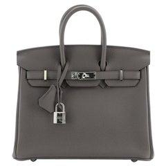 Hermes Birkin Handbag Etain Togo with Palladium Hardware 25