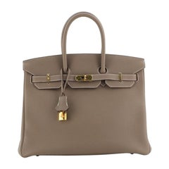Hermes Birkin Handbag Etoupe Togo With Gold Hardware 35