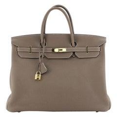 Hermes Birkin Handbag Etoupe Togo with Gold Hardware 40