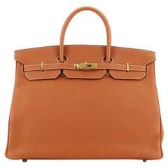 Hermes Birkin Handbag Etrusque Clemence with Gold Hardware 40