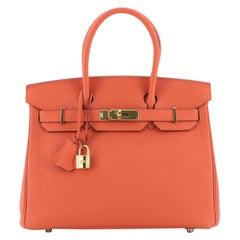 Hermes Birkin Handbag Feu Togo with Gold Hardware 30