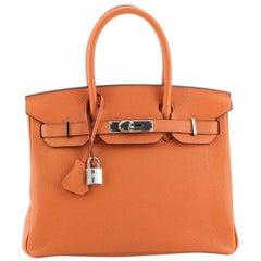Hermes Birkin Handbag Feu Togo with Palladium Hardware 30