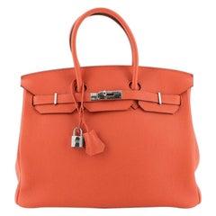 Hermes Birkin Handbag Feu Togo with Palladium Hardware 35