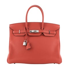 Hermes Birkin Handbag Geranium Clemence with Palladium Hardware 35