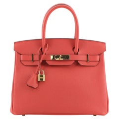 Hermes Birkin Handbag Geranium Epsom with Gold Hardware 30