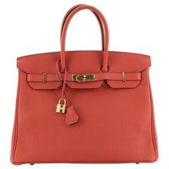 Hermes Birkin Handbag Geranium Togo with Gold Hardware 35