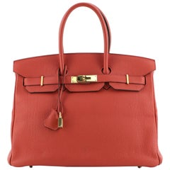 Hermes Birkin Handbag Geranium Togo with Gold Hardware 35