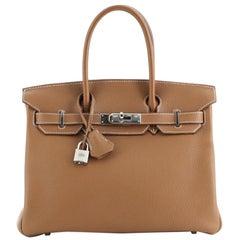 Hermes Birkin Handbag Gold Clemence with Palladium Hardware 30