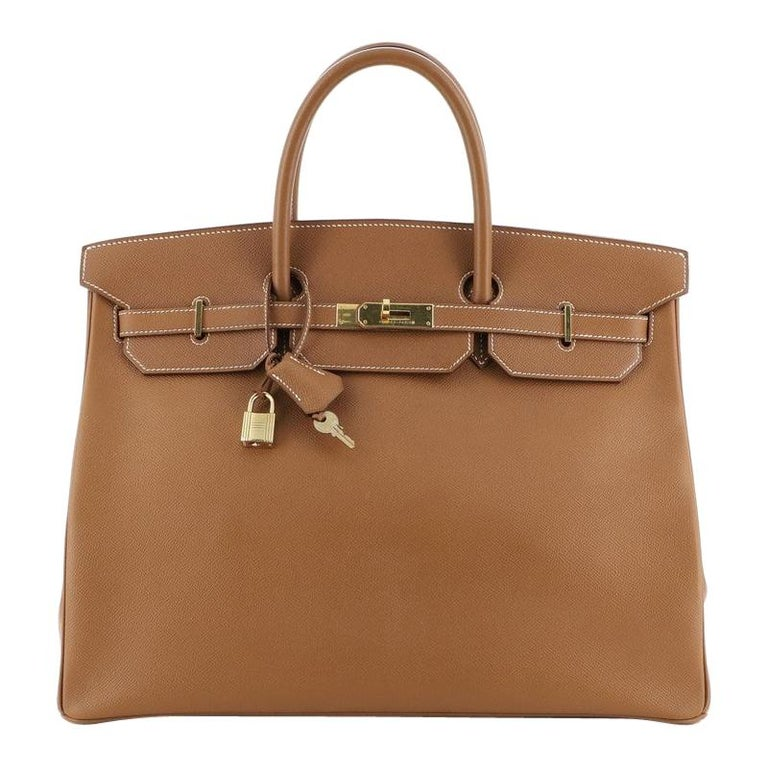 Hermes Birkin Handbag Gold Courchevel with Gold Hardware 40 For Sale